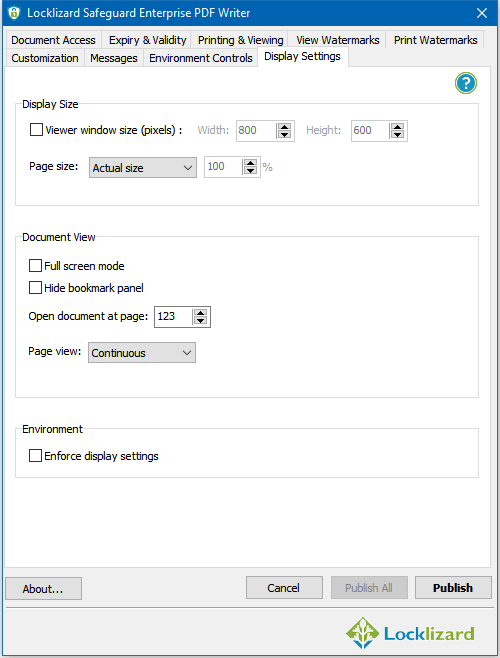 Display Settings:   Here you select how you want your protected PDF files to be displayed in the Secure PDF Viewer and whether you want to enforce those settings or allow the user to change them.